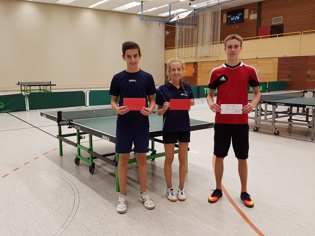 Die Top 3 der Jugend: v.L.: David Bühringer, Hannah Bühringer, Sebastian Haberecht